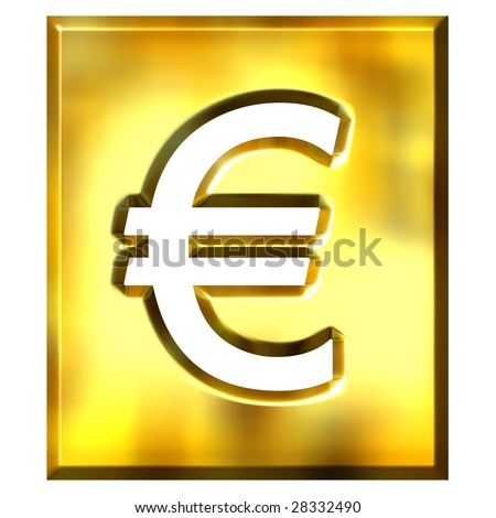3d golden framed euro sign