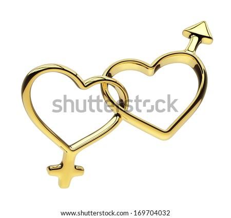 3d golden hearts connected together, linked rings, gender symbols - stock photo