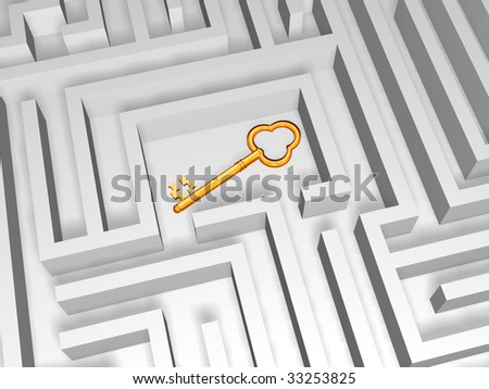 3d golden key in the centre of labyrinth - stock photo