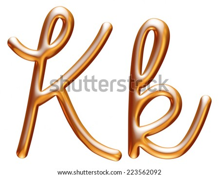 3d golden letter K isolated white background