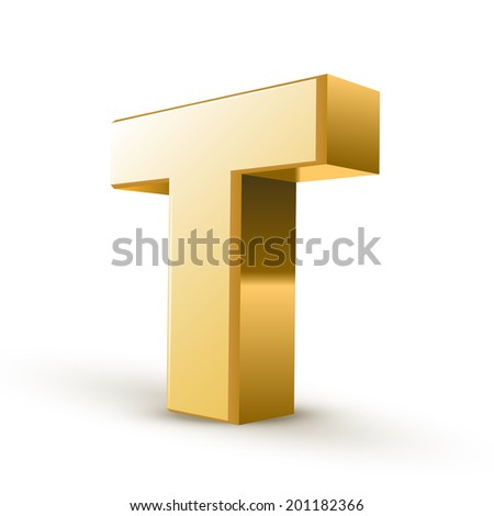 3d golden letter T isolated white background - stock photo