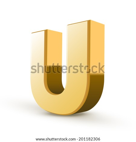 3d golden letter U isolated white background - stock photo