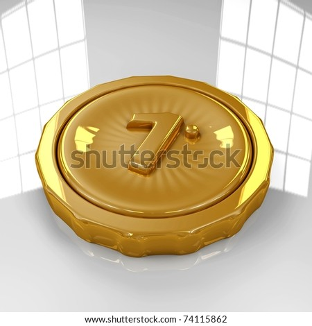 3D golden medal isolated on white, reflective, background - stock photo
