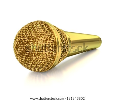 3d golden microphone isolated on white background - stock photo