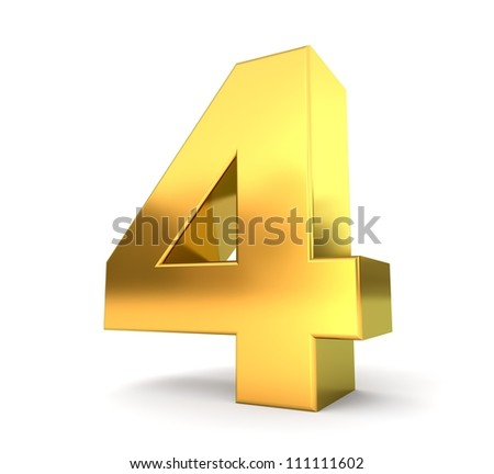 3d golden number collection - 4 - stock photo