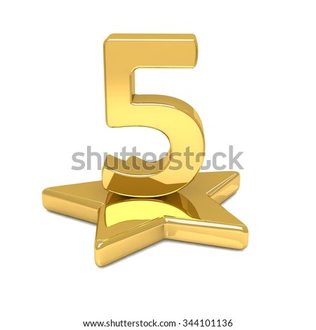 3d golden number 5 five star podium  - stock photo