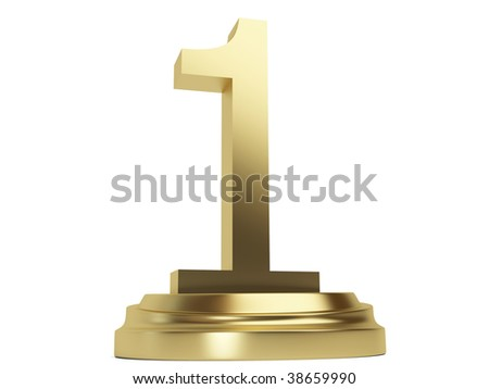 3d Golden number one Sign isolated on the white background - stock photo