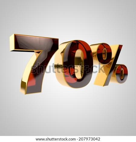 3d golden percent - 70 - stock photo