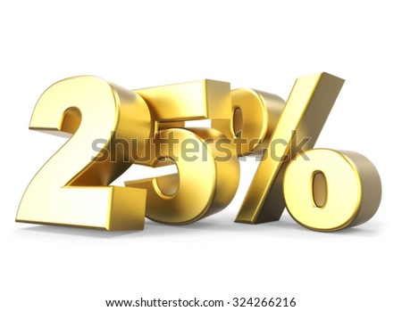 3D golden percentage discount collection - version 25 % off - stock photo