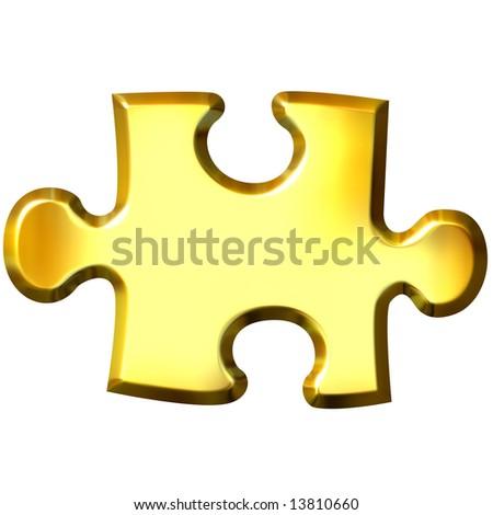 3d golden puzzle piece - stock photo