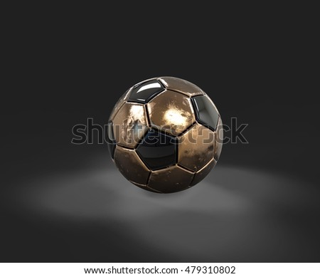 3D golden soccer ball on ground