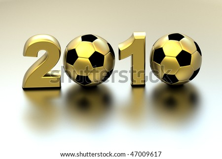 3d golden soccer ball with continents - stock photo