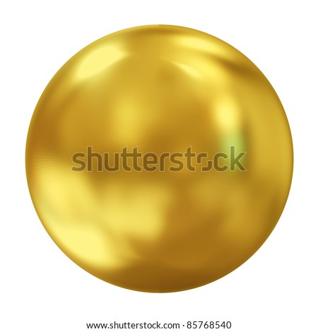 3d Golden Sphere isolated on white background - stock photo