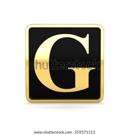 3d golden square box letter g with gold metal frame alphabet render - stock photo