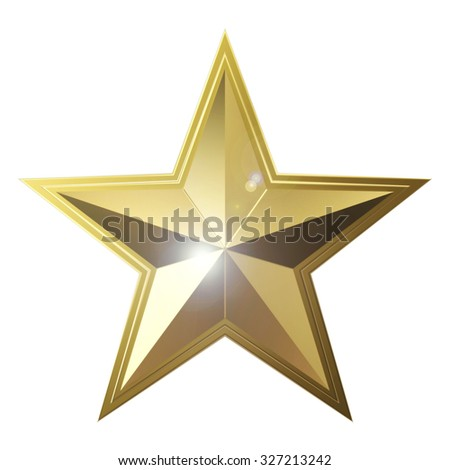 3d golden star isolated on white background - stock photo
