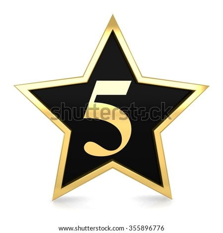 3d golden star number 5 five with gold metal frame render - stock photo