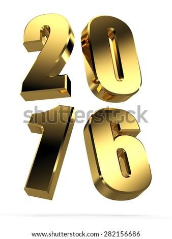 3d golden 2016 text. 3d Happy new year golden 2016 - stock photo