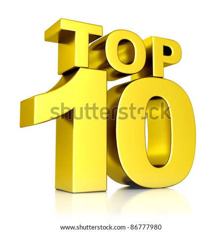 3d golden Top 10 - stock photo