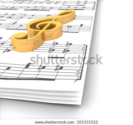 3d golden treble clef music paper around on a white background - stock photo