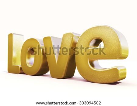 3d golden word love in white studio - stock photo