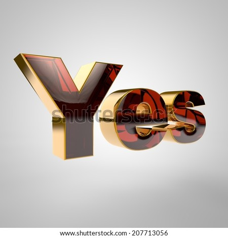 3d golden  word - yes - stock photo
