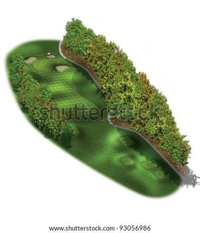 3D Golf Course Hole Layout/Three dimensional golf illustration with trees - stock photo