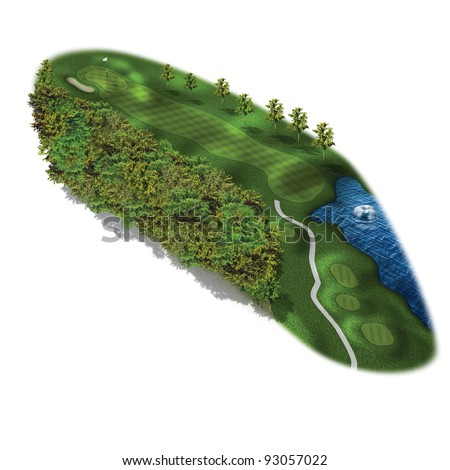 3D Golf Course Hole Layout/Three dimensional golf illustration with trees and water - stock photo