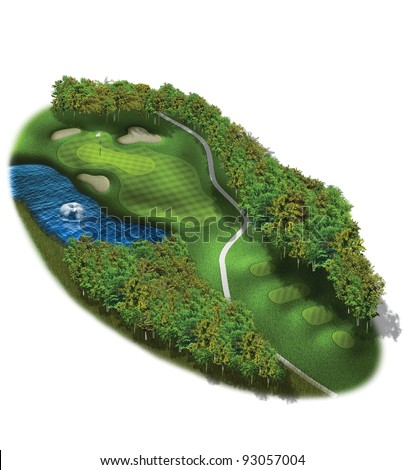 3D Golf Course Hole Layout/Three dimensional golf illustration with water hazard - stock photo