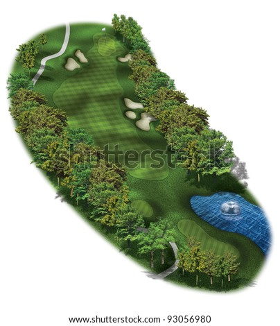 3D Golf Course Hole Layout/Three dimensional golf terrain illustration - stock photo