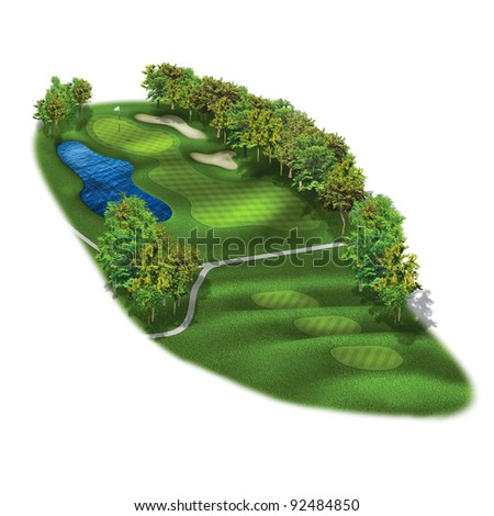 3D golf course ole layout/Golf course illustration - stock photo