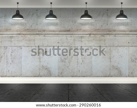 3d granite  room with ceiling lamp - stock photo