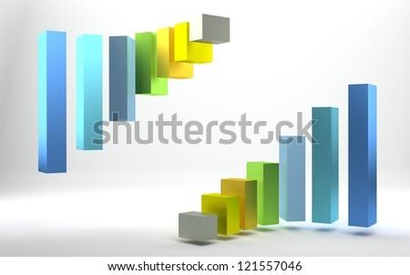 3d graph - stock photo