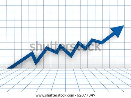 3d graph arrow blue high isolated on white background - stock photo