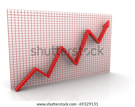 3d graph arrow rise isolated on white background