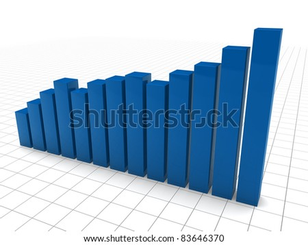 3d graph blue diagramm growth chart success - stock photo