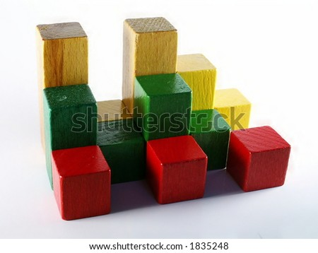 3d graph from toys - stock photo
