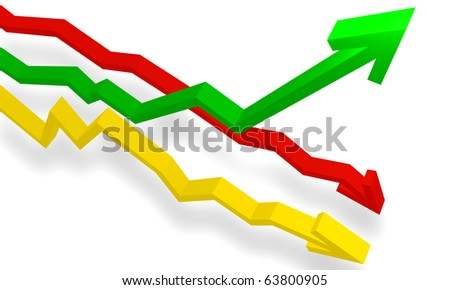 3d graph show different direction high normal and down by color - stock photo