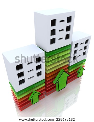 3D graph showing financial real estate growth  - stock photo