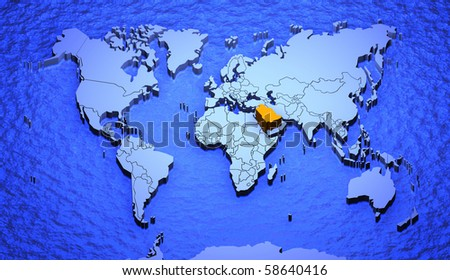 D Graphic Depicting World Map Highlighting Stock Illustration - Where is saudi arabia on the world map
