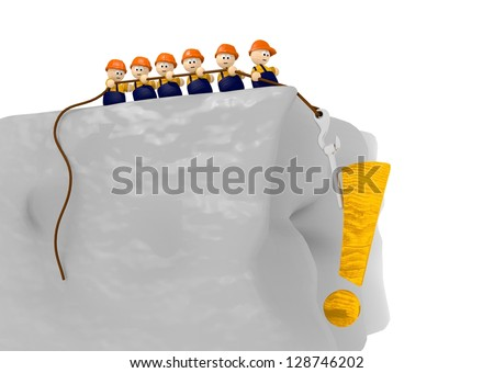3d graphic with cute 3d characters for information on a construction site - stock photo