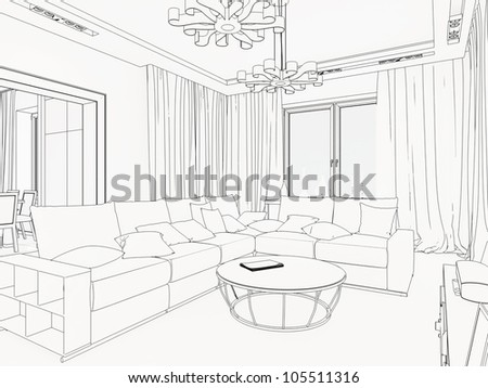 3D Graphical sketch of an interior - stock photo
