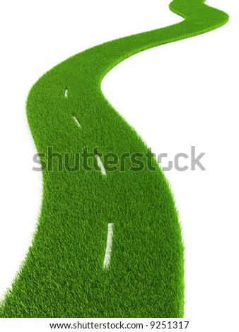 3d grassy road isolated - stock photo