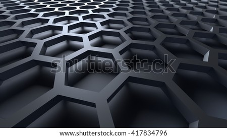 3D gray color abstract cellular lattice background - stock photo