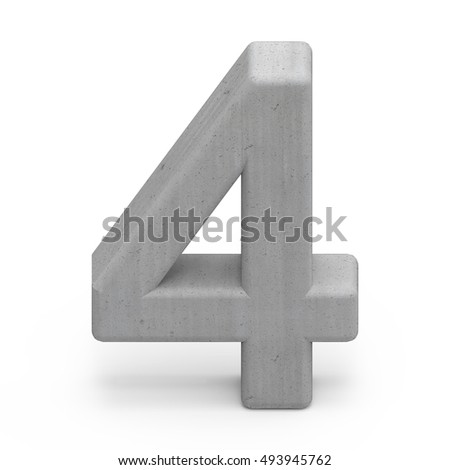 3d gray concrete number 4, 3D rendering graphic isolated on white background