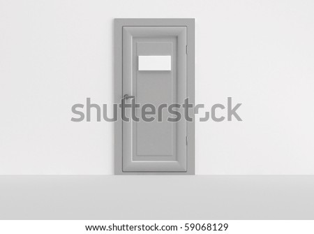 3d,gray door  with empty white plate
