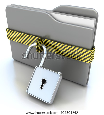 3D gray folder and lock. Data security concept.