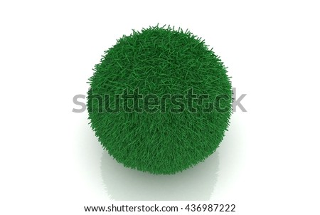 3D green ball isolated on white background - stock photo