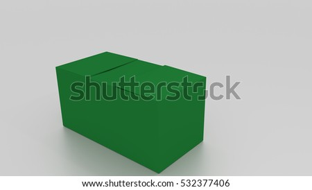 3D green cardboard box, ready to wrap things in it on white background. Rendered illustration. Copy space