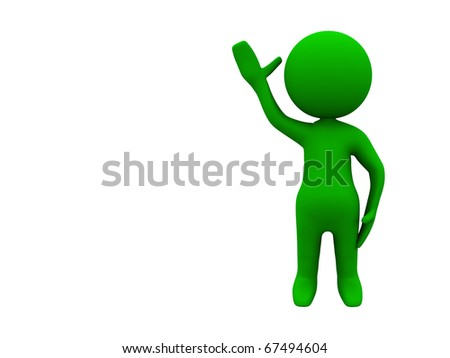 3d green character waving to all people - stock photo