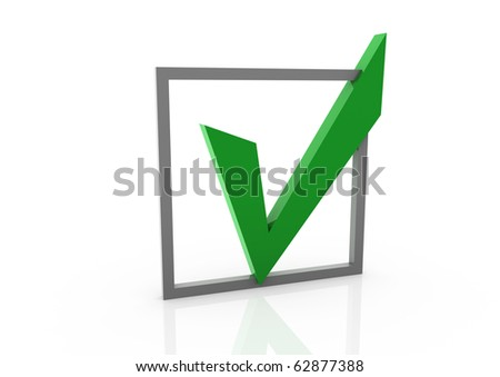 3d green check box isolated on white background - stock photo